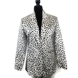Focus 2000 By Charles Faux Fur Animal Print Blazer